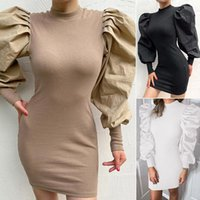 Casual Dresses Women Vintage Puff Long Sleeve Winter Elegant Knitted Bodycon Dress Solid O Neck Tight Mini