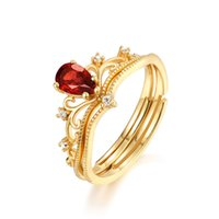 Vermeil Plated Jewelry Natural Garnet Ring Set January Birthday Gemstone 925 Sterling Silver Engagement Wedding Gift