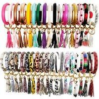Bangle Keychain PU Tassel Bracelet Keyring Leopard Flower Solid Key Ring Holder Women Girls Fashion Jewelry 36 Designs BT6573