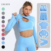 Womens Vital Seamless Workout Sports Woman yoga 5pcs clothes Set Wholesale Logo custom