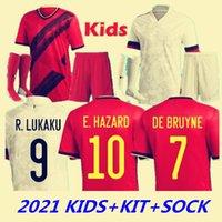 2021 Belçika Futbol Forması Hayranları De Bruyne Tehlike Lukaku Mertens Futbol Gömlek Çocuk Seti Çorap