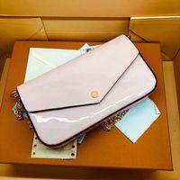 Designer di lusso Signora Borse a tracolla Messenger Borse a borsetta Bontage Leatia Borsa in rilievo in stile 3 pezzi e una catena dorata con scatola 61276