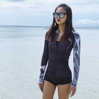 NU-June Women's Women Swimsuit Grash Hash كم طويل قطعتين ملابس السباحة UPF 50+ الأسود سستة الرياضة الاستحمام الدعاوى تصفح rashguard