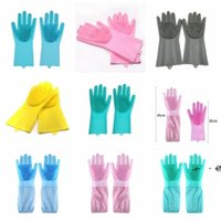 newDishwashing Gloves silicone Gloves Cleaning Brush Scrubber Silicone Kitchen Gloves Heat Resistant for Cleaning Car Pet Hair Care EWF6414