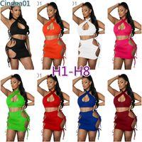 Kadın Elbiseler Tasarımcı Straplez Elbise Kapalı Omuz Kırpma Üst Düz Renk Bodycon Bölünmüş Seksi Giysileri Artı Boyutu Sıska Paketlenmiş Kalça Etek 8 Stilleri