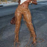 Slant Taille Design Lace up Sexy Flare Pantalon Femmes Tautes Haute Taille Bandage Leggings Club Partie Pu Pu en cuir Pantalons froncés Femelle 210707