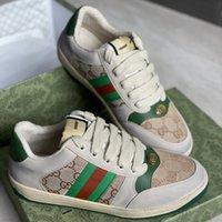 الرجال النساء عارضة أحذية رياضية إيطاليا القذرة الجلود الأحذية الأخضر الأحمر شريطية مصممين الفاخرة قماش ايس عارضة الأحذية الكلاسيكية زبدة حذاء رياضة مع صندوق 320