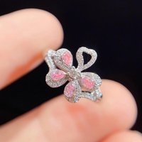 Cluster Rings Luxury 925 Sterling Silver Wedding Party For Women Trendy Geometry Flower Pink Zircon Female Ring Engagement Jewelry