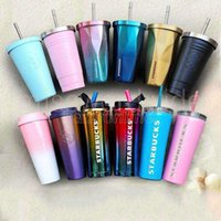 2022 latest Starbucks stainless steel mug 16OZ straw cups 20 styles ice cube gradient cup car Drinkwarehou Bottles FY4528 MS13