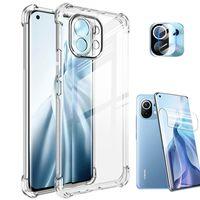 Xiaomi 11 Ultra Cover Mi 11Lite Case,Transparent Phone Case Hydrogel film 360 Bumper Airbag Anti-Shock Cover
