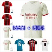 20 21 22 CA Home Soccer Milão Balr Theo Jerseys 2021 2022 Azul Ibrahimovic Tonali Mandzukic Kessie Homens Futebol Camisas