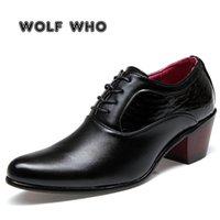 Kurt Kim Lüks Erkekler Elbise Düğün Ayakkabı Parlak Deri 6 CM Yüksek Topuklu Moda Sivri Burun Heigten Oxford Ayakkabı Parti Balo X-196 210310