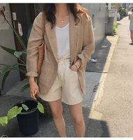 Summer Blazer Women Korean Cotton And Linen Suit Jacket Loose British Style Coats Woman Women's Suits & Blazers