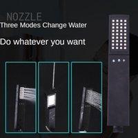 Banyo Duş Setleri Siyah Çift Taraflı Yağmurlama Sprey Tabancası Su Durdurma Basınçlı Dikdörtgen El Memesi