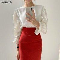 Woherb élégant chemisier solide femmes plissées longues lanterne manches bureau de bureau chemise femme blouses femmes chemises