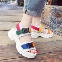 Woman Hook Loop Sandals Ladies Mixed Colours Buckle Shoes Female Flat Platform Women Fashion Wedges Women's Comfortable Footwear