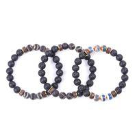 Beaded, Strands Retro Stone Charm Bracelet Women Men Wood 8mm Lava Beads Essential Oil Diffuse Tibetan Buddha Strench Bracelets Jewelry