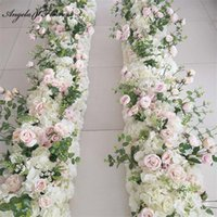 Decorative Flowers & Wreaths Party Celebration Wedding Decor Backdrop Road Lead Flower Row Artificial Arrangement Rose Peony Leaf Table Ball