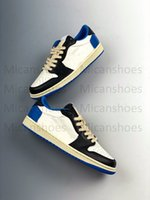 2021 Travis Scott x Fragment 1 Low OG SP Дизайнерские Обувь Военные синие TS Черный парус Shys Men Женские спортивные кроссовки на открытом воздухе
