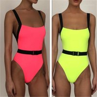 فتح عودة حبال ملابس الصيف أنثى الفلورسنت اللون شاطئ حمام السباحة ملابس السباحة النساء قطعة واحدة ملابس السباحة موضة الاتجاه مثير