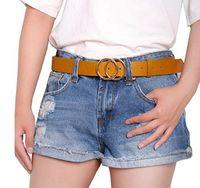 New Fashion Womens Ladies Classic Skinny Pin Buckle Faux Leather Belt Dress Waistband Black White Khaki