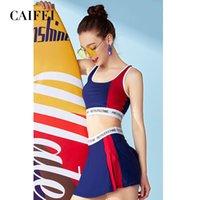 Biquíni caifei feminino capa conservadora mostra fina esportes menina mola quente aberta volta split maiô