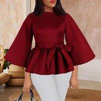 Blusas femininas camisa elegante escritório senhora trabalho desgaste outono pulôver tops africano moda estilo feminino 2021 outono roupa elegante peplum sh
