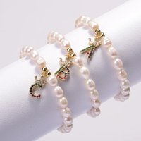 Pavy Color Zircone Corona Iniziale 26 Alfabeto Lettera Nome Naturale Braccialetto per perle di perle di perle d'acqua dolce naturale per donna regalo elegante