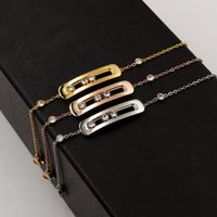 Link, Chain Classic Titanium Steel Hollow Three Cubic Zirconia Can Slide Bracelet  Bangles,Drop ,factory Price
