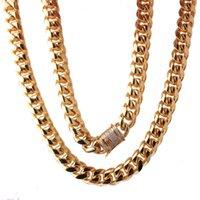 """7-40 """"15mm Mode Miami Bordsteinkubanische Herrenkette Halskette oder Armband Armreif 316L Edelstahl Gold Schmuck Weiß Rehinestone Ketten"""