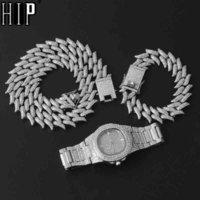 HIP HOP 19MM 3PCS Kit Montre + Collier + Bracelet Bling AAA + ILED SHINESS D'ALLIAGE THORNS CHAMCHES DE LIEN CUBAN POUR HOMMES