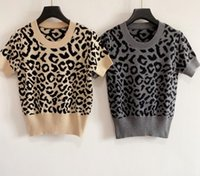 Ladies Leopard Jacquard Print Round Neck Pullover Knit Sweater Short Sleeve T-shirt 607