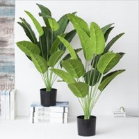 Decorative Flowers & Wreaths 18 Leaves Green Potted Plant Large Artificial Banana Tree Fake Monstera Plastic Palm For Home Garden Wedding De