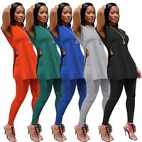 Free Ship 2021 Women Fashion Sleeveless Split Two Piece Pants Casual Slim Tank Top and Bottoms Set Lady Outfits