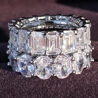Cluster Rings Moonso Sterling Silver 925 For Women 2 Ct 2-Pc Princess Cut Wedding Engagement Jewelry Ring Set R5790