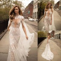 Berta Lace Mermaid Wedding Dresses With Detachable Cape Plunging Neck Backless Bridal Gowns Sweep Train Tulle Appliques Wedding D