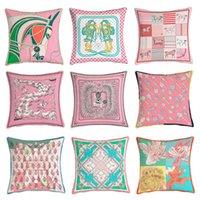 Caja de cojín de la serie rosa Super Soft Velvet Protección ambiental de impresión de doble cara Sofá de almohada Cubierta de almohada europea Dormitorio Almohada de aliento