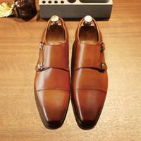 Sapatos de vestido Desi Marca de Luxo Couro Genuíno Oxford Sapatos Masculinos Apontou Tee Vestido com Fivela Dupla MASCULINO FESTA CASAMENTO ZRN6