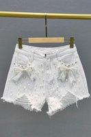 Women's Jeans White Hole Denim Shorts 2021 Summer High Waist Loose Slimming Diamond Beaded Pants Casual Short