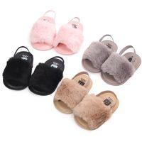 도매 아기 소녀 모피 샌들 첫 번째 워커 패션 디자인 슬리퍼 따뜻한 부드러운 아이 홈 신발 어린이 유아 솔리드 컬러 유아 신발