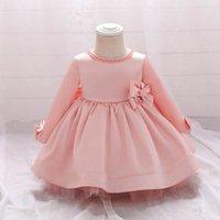 Girls Dresses 1st Birthday Dress For Baby Girl Clothes Kids Clothing Long Sleeve Bows Princess Pettiskirt Formal Wear B7247