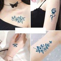 Juice Lasting Waterproof Temporary Tattoo Sticker Flower Chain Butterfly Ink Flash Tattoos Female Waist Sexy Body Art Fake Tattoo J036