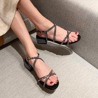Dress Shoes Summer Women Sandals 2021 Fashion Sexy Rhinestone Mid Heel Tied Party Breathable Comfort Shopping Woman Walking Casual