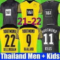 Borussia Dortmund 21 22 Uzakta Futbol Forması 2021 2022 Üst Futbol Gömlek Haaland Reus Neongelb Bellingham Sancho Hummels Brandt Kitleri Erkekler + Çocuklar Set Unifomrs Dördüncü Dördüncü