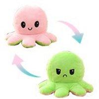 Stock Tiktok Illuminated Flip Octopus Stuffed Plush Toys For Children Cute Angry Smile Emotion Reversable Animal Plush Doll Gift 1083 Y2