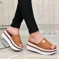 Sandals Slippers Ladies Summer Thick-soled Fashion Luxury And Pantofle Low-cut Large-size Designer 2021 Heel