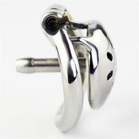 Super Pequeno Pequeno Aço Inoxidável Macho Chastity Dispositivos galo gaiola com cateter pênis bloqueio anel brinquedos sexuais para homens cinto 210624