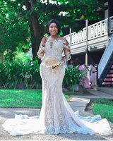 2020 Luxury Lace Mermaid Wedding Dresses Sheer Jewel Neck Long Sleeves Beaded Beach Plus Size Wedding Bridal Gowns robes de marie