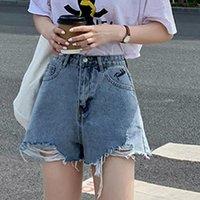 Women's Jeans Zoki Blue Hole Denim Shorts Women Tassel Button A Line Pocket Loose Ladies Korean Street Fashion Summer 2021