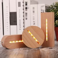 2pcs 3D Wooden Lamp Base LED Table Night Light Bases For Acrylic Warm White Lamps Holder Lighting Accessories Assembled holders